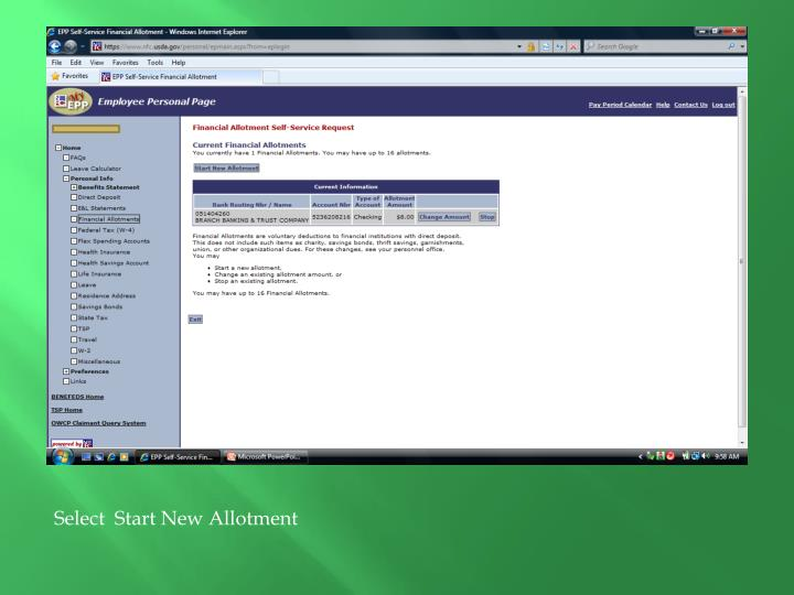 Select  Start New Allotment