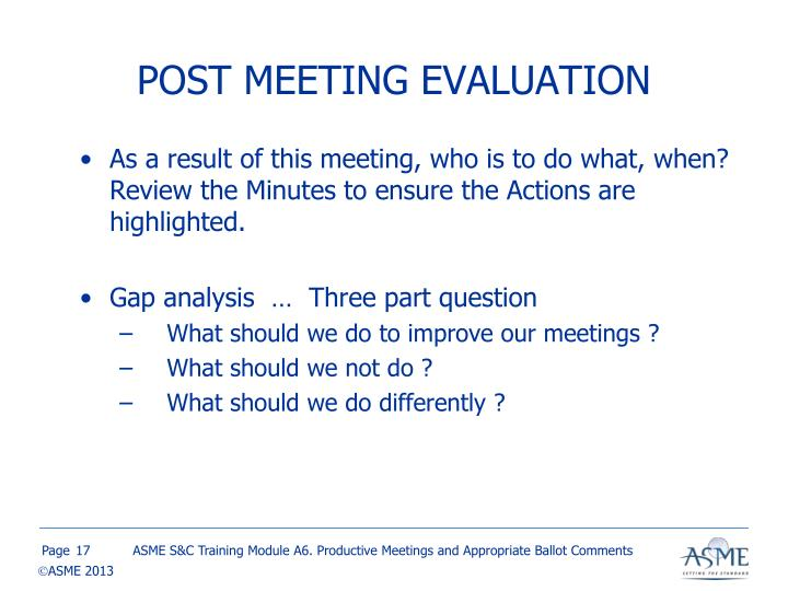 POST MEETING EVALUATION