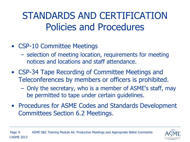 STANDARDS AND CERTIFICATION