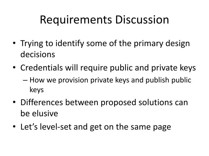 Requirements Discussion
