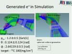 generated e in simulation
