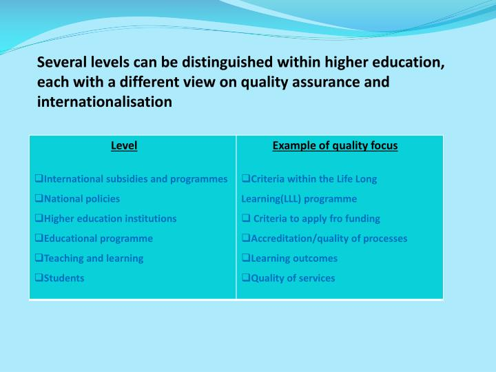 Several levels can be distinguished within higher education,