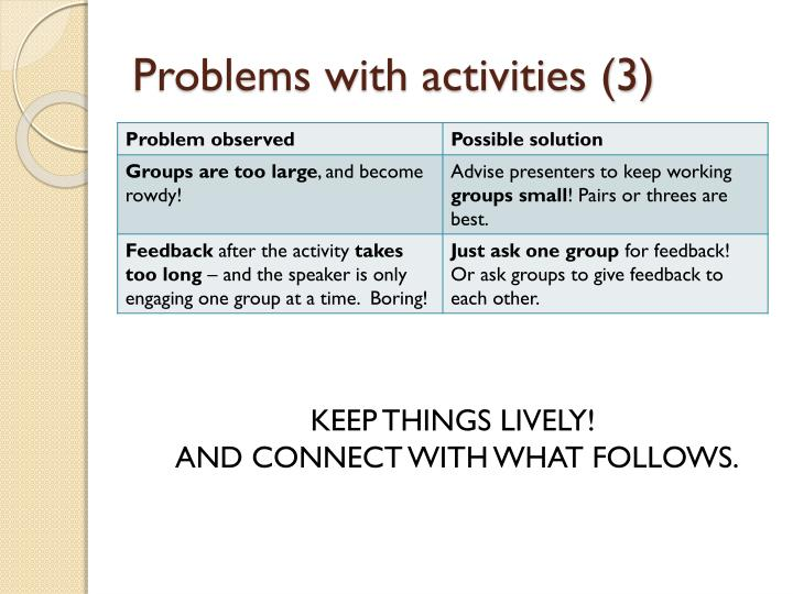 Problems with activities (3)