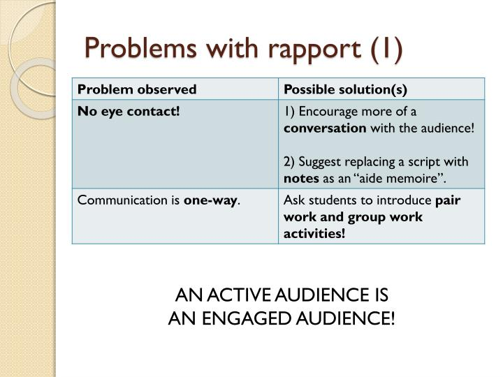 Problems with rapport (1)