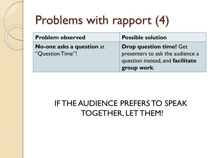 Problems with rapport (4)