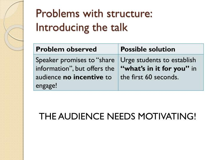 Problems with structure: Introducing the talk