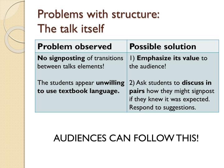 Problems with structure: