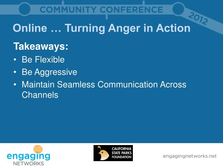 Online … Turning Anger in Action