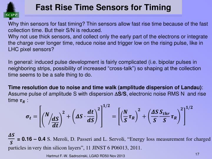 Fast Rise Time Sensors for Timing
