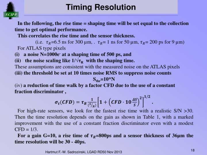 Timing Resolution