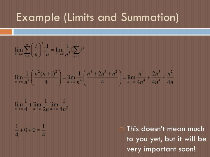 Example (Limits and Summation)