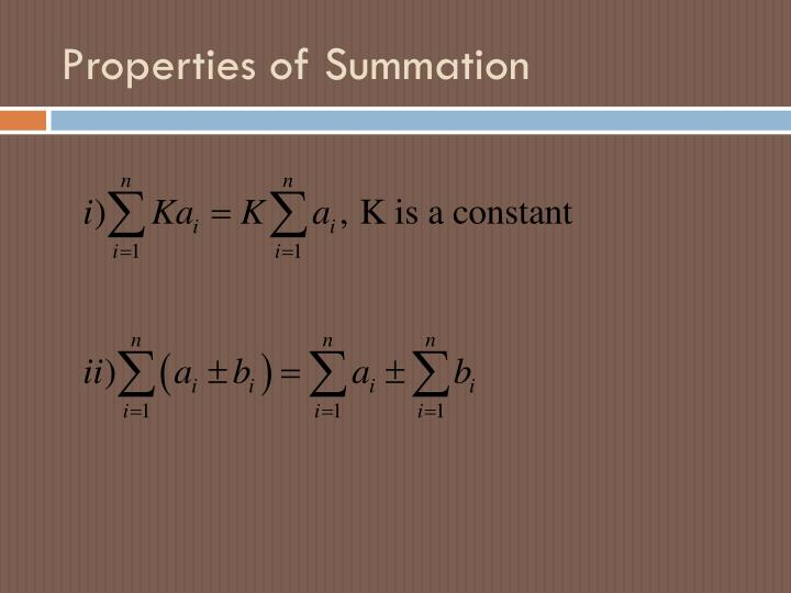 Properties of summation