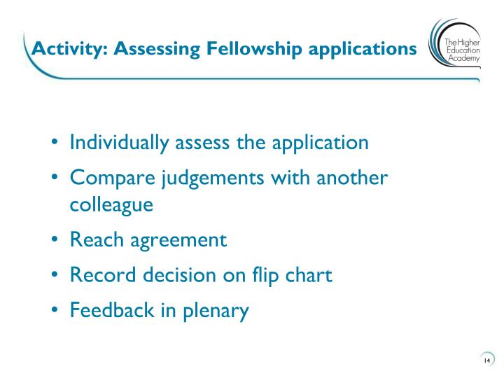 Activity: Assessing Fellowship applications