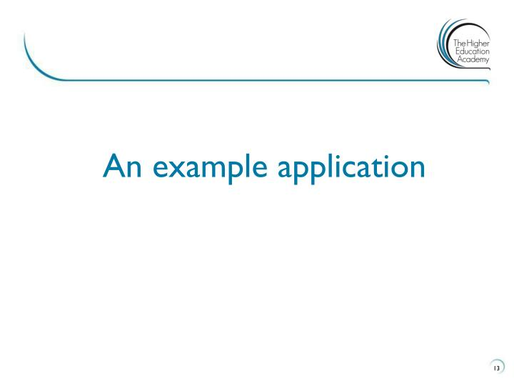 An example application