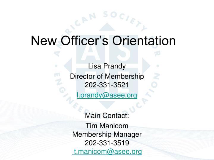 New Officer's Orientation