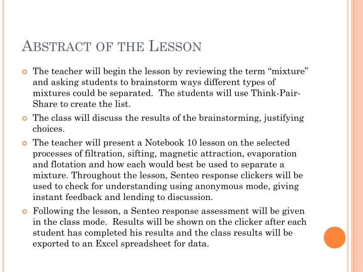 Abstract of the Lesson