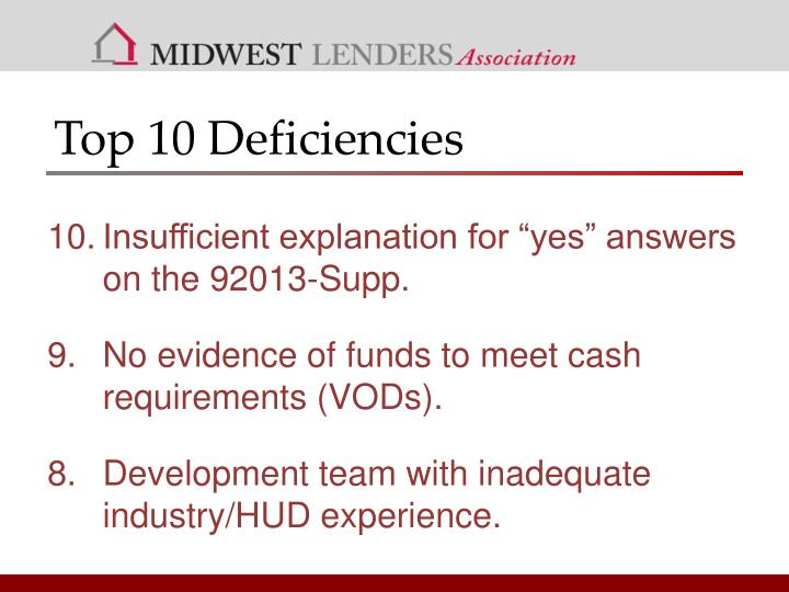 Top 10 Deficiencies