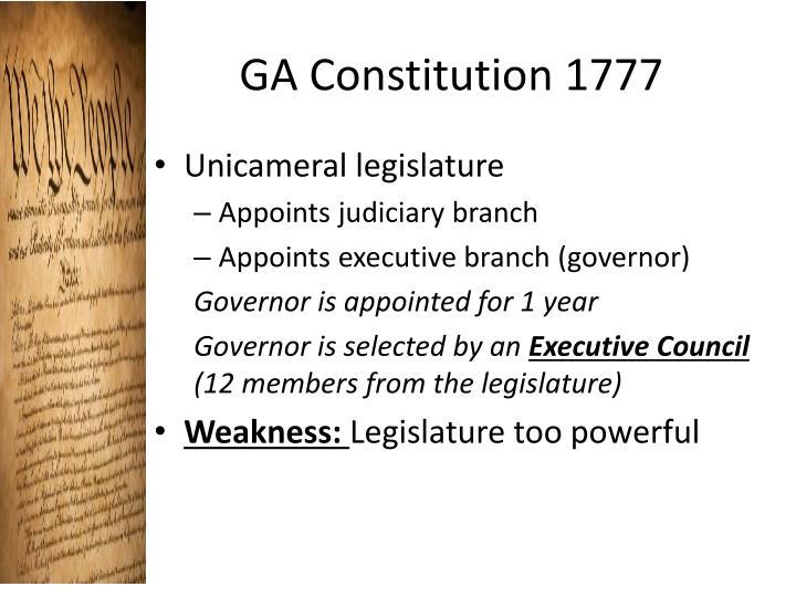 GA Constitution 1777