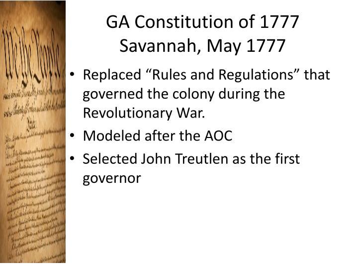 GA Constitution of 1777