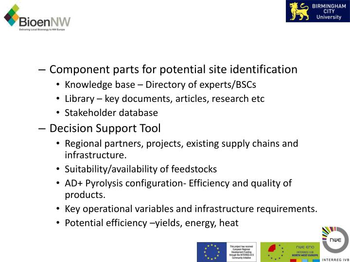Component parts for potential site identification