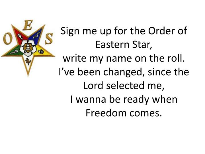 Sign me up for the Order of Eastern Star,