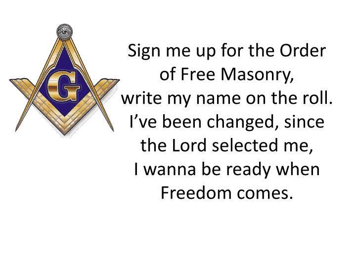 Sign me up for the Order of Free Masonry,