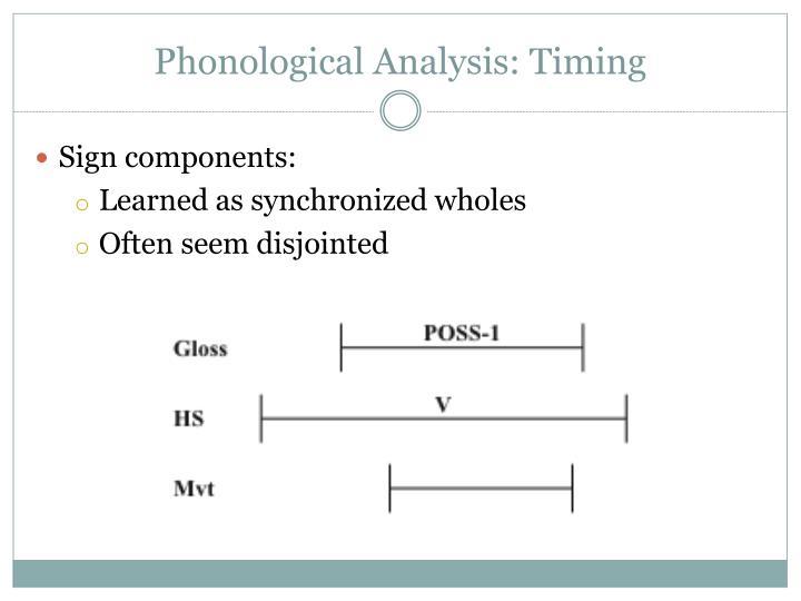Phonological Analysis: Timing