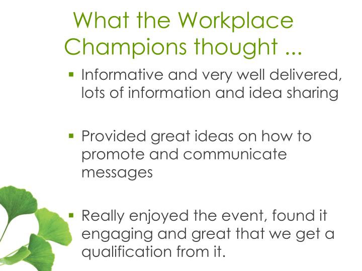 What the Workplace Champions thought ...
