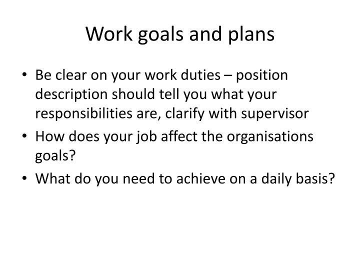 Work goals and plans