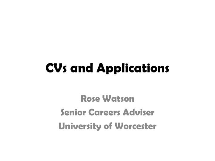 cvs and applications
