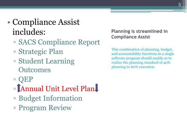 Compliance Assist includes: