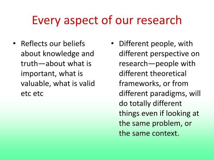 Every aspect of our research