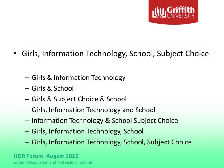 Girls, Information Technology, School, Subject Choice