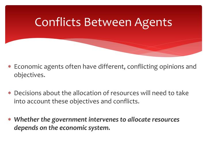 Conflicts Between Agents