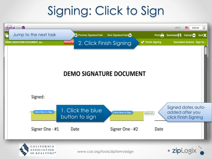 Signing: Click to Sign