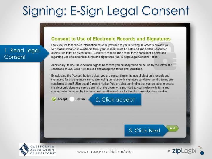 Signing: E-Sign Legal Consent