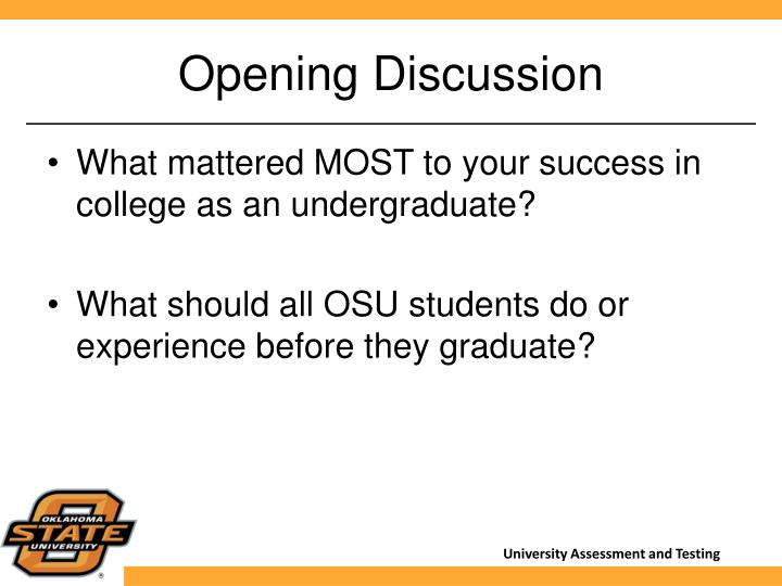 Opening Discussion