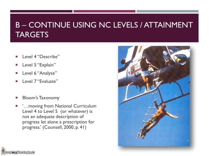 B – Continue using NC Levels / Attainment Targets