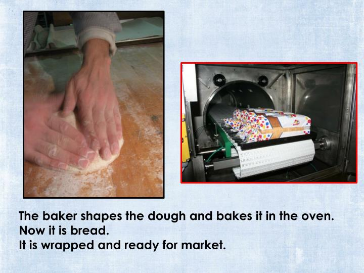 The baker shapes the dough and bakes it in the oven.