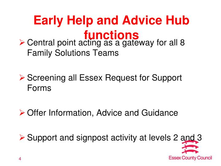 Early Help and Advice Hub functions