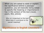 significance in english literature