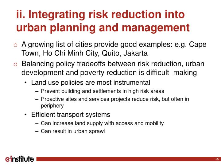ii. Integrating risk reduction into urban planning and management