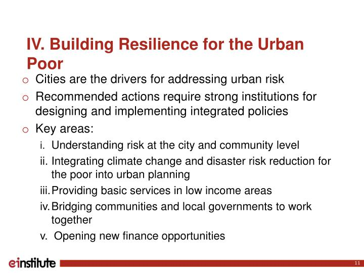 IV. Building Resilience for the Urban Poor