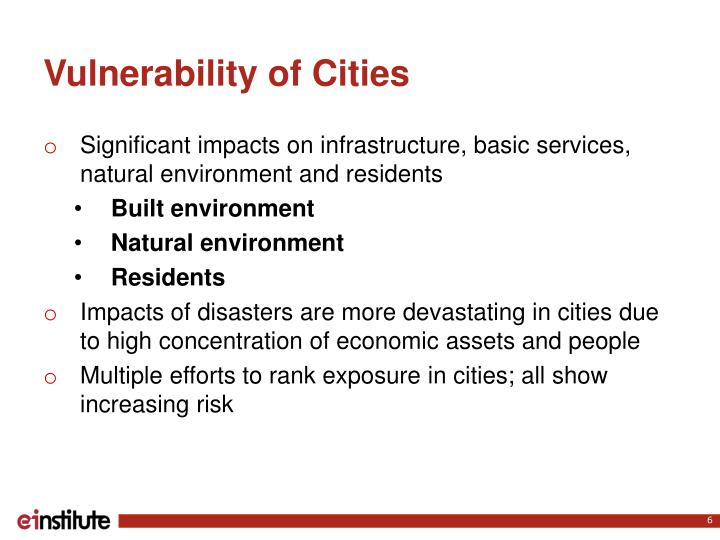 Vulnerability of Cities