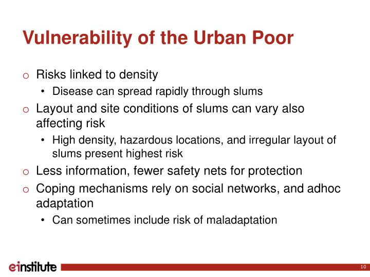 Vulnerability of the Urban
