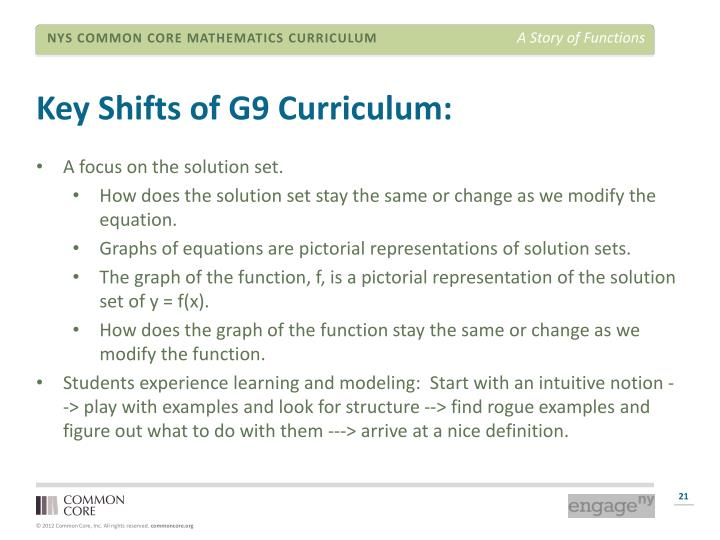 Key Shifts of G9 Curriculum: