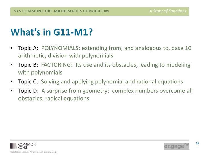 What's in G11-M1?