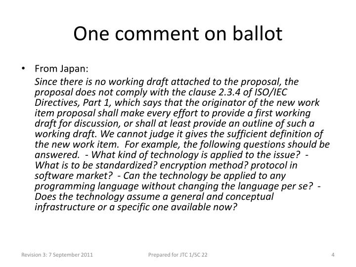 One comment on ballot