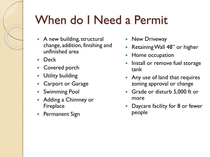 When do i need a permit