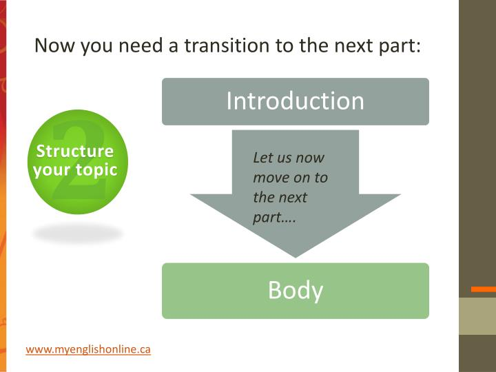 Now you need a transition to the next part: